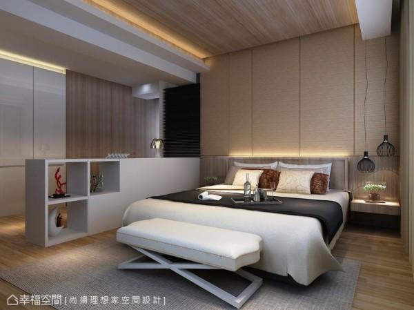 呼应浅木色铺叙的暖度设计,设计师另于引光进入卫浴的木百也门片上改以深色表现空间层次感。(此为3D合成示意图)