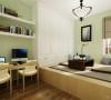 室内的色彩采用明亮对比强烈的色彩,使空间显得更为宽敞明亮,家具选用简洁的现代布艺家具,温和的触感非常舒适,视觉上也增加了温馨的氛围。