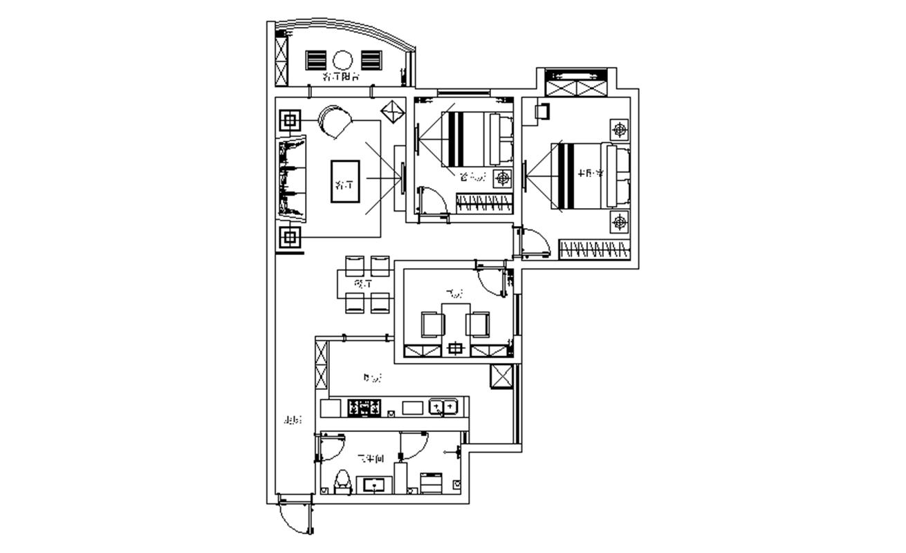 都市家园 美式 三居 整体家装 户型图图片来自郑州实创装饰啊静在华林都市家园美式三居的分享