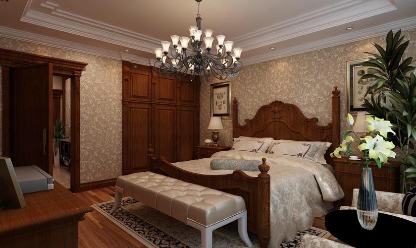 卧室图片来自青岛威廉装饰在万科红郡别墅美式设计的分享