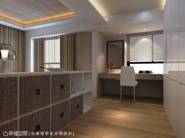 跳脱新古典主体风格,设计师在女孩房中改以纯白钢烤衣柜门与藤编置物篮,打造温暖的现代利落风。(此为3D合成示意图)
