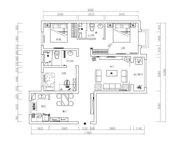 本户型为标准的三室两厅户型图。很标准的哦。