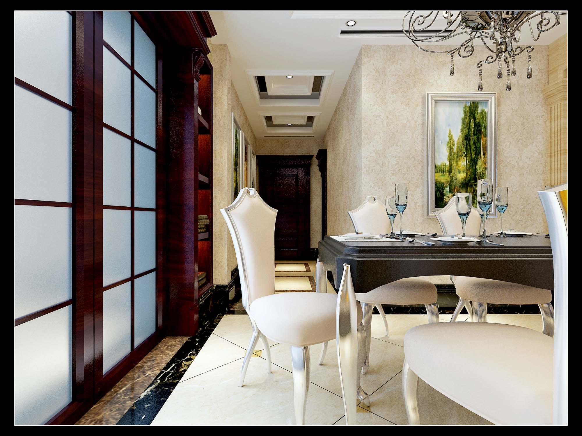 欧式 情调 高端 大气 餐厅图片来自太原金尚装饰王卓娅在欧式简约-东湖花园-171平的分享