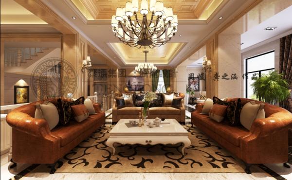 阳光花满墅别墅装修欧式新古典风格设计方案展示,腾龙别墅设计师周峻作品,欢迎品鉴!