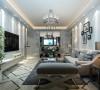客厅整体装修设计效果展示,客厅的整体地面进行地砖斜铺非常的大气。