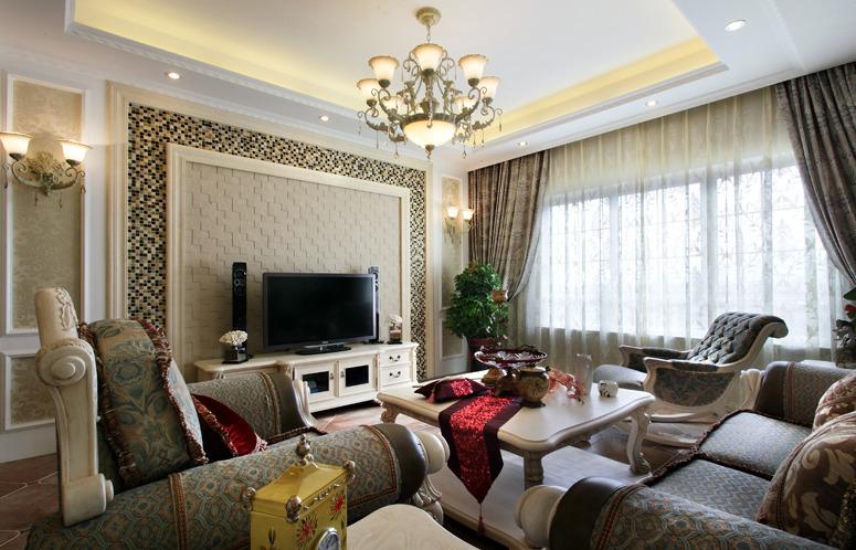 简约 欧式 田园 三居 旧房改造 客厅图片来自今朝装饰小张在145平 田园风格的分享
