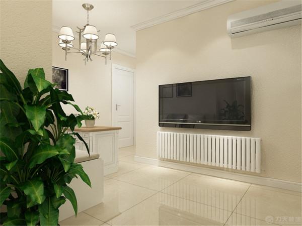电视墙没有造型原本放电视柜的位置由于有暖气的存在也没有放。
