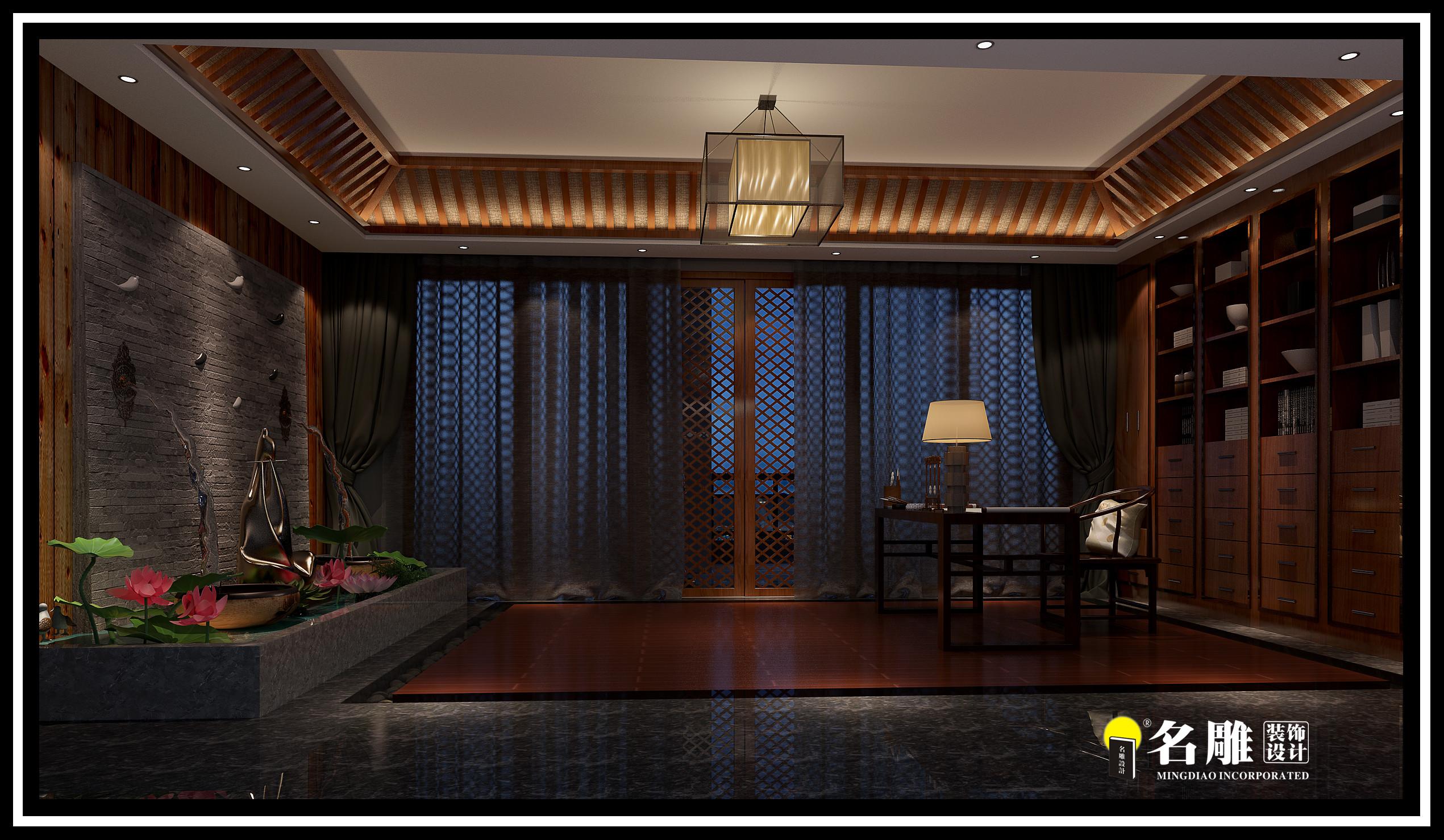 中式 四居室 安宁 祥和感 自然、清新 书房图片来自名雕装饰长沙分公司在湘江豪庭中式四居室的分享