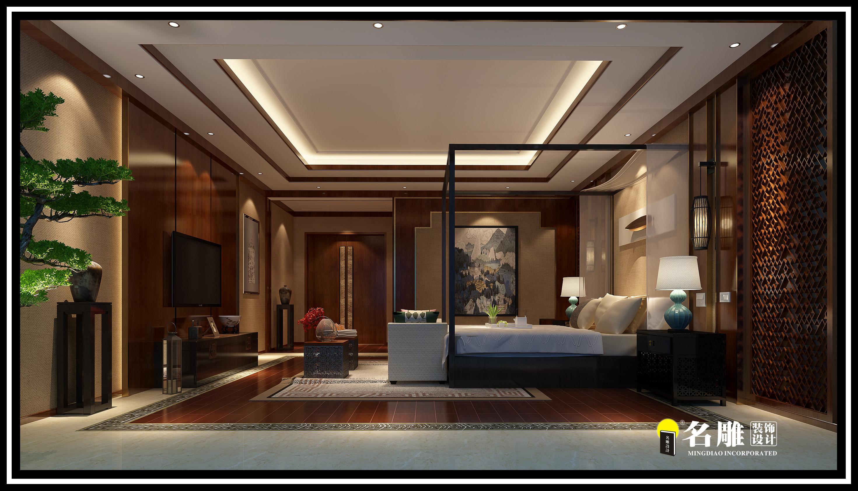 中式 四居室 安宁 祥和感 自然、清新 卧室图片来自名雕装饰长沙分公司在湘江豪庭中式四居室的分享