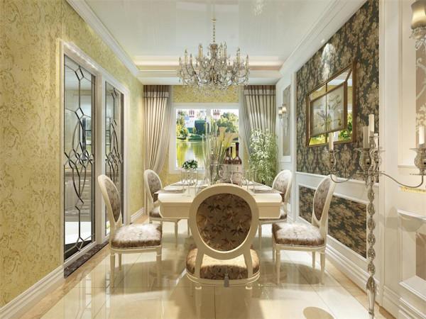 餐厅的设计,着重在背景墙上用了欧式壁纸挂画和嵌入式造型。再配以欧式餐椅和白色餐边柜整体,使得和客厅的设计融为一体,更好的突出了欧式的富丽堂皇。