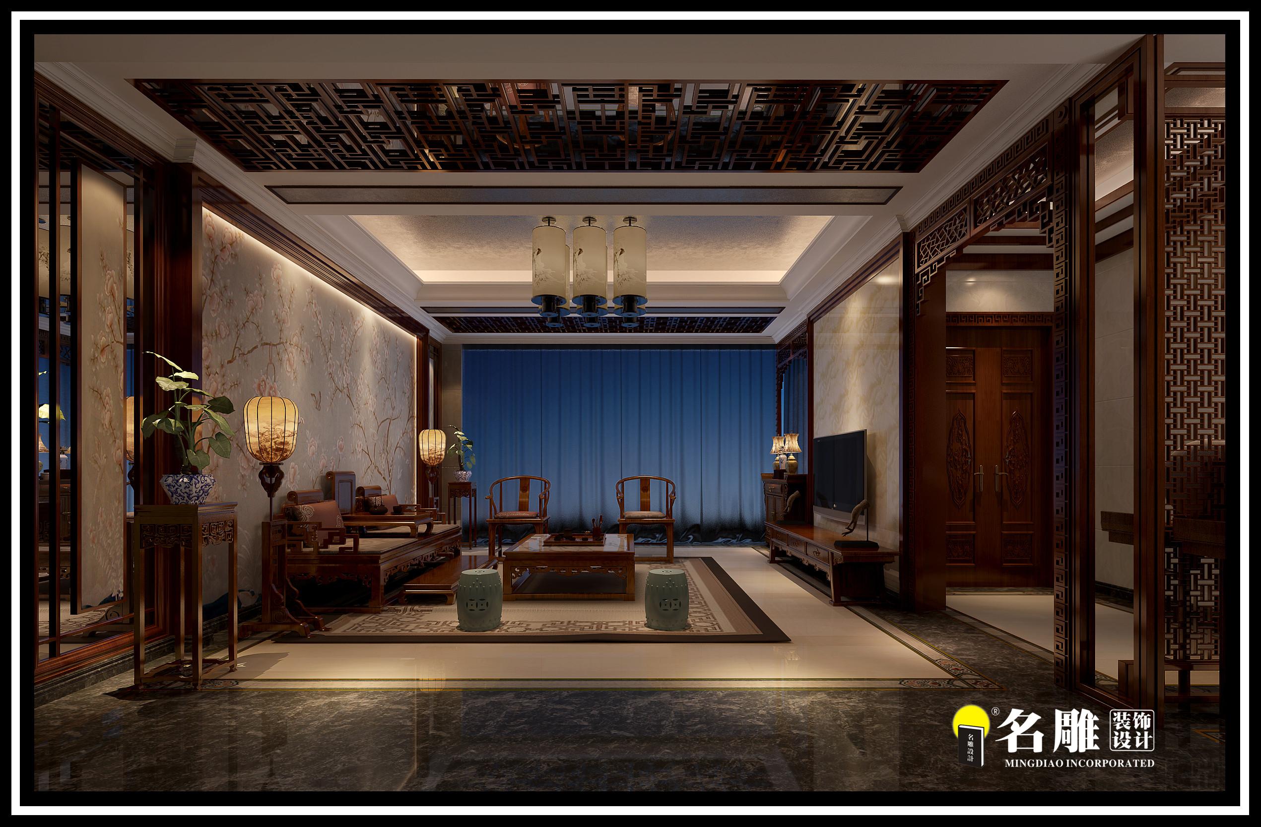 中式 四居室 安宁 祥和感 自然、清新 客厅图片来自名雕装饰长沙分公司在湘江豪庭中式四居室的分享