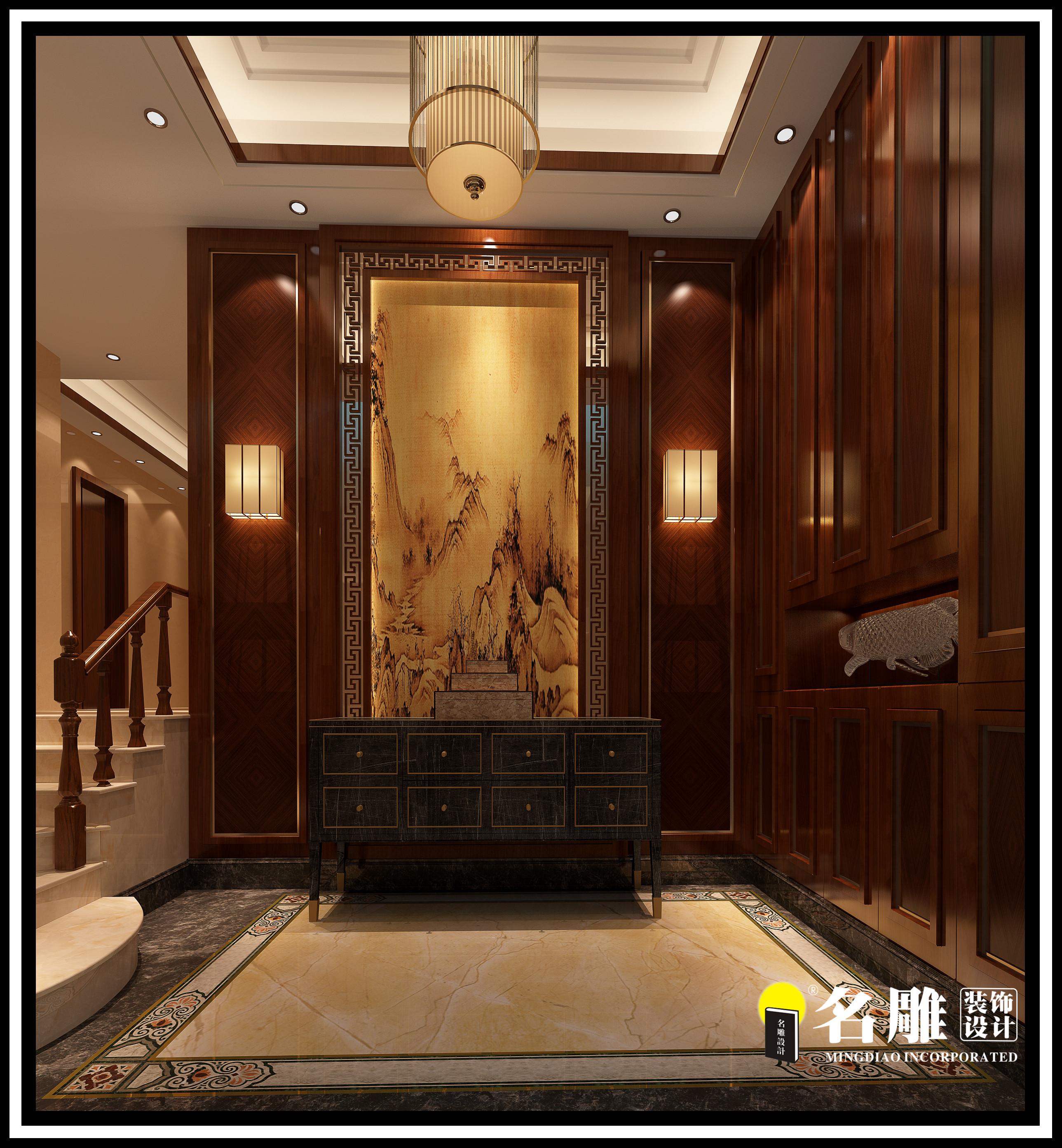 中式 四居室 安宁 祥和感 自然、清新 玄关图片来自名雕装饰长沙分公司在湘江豪庭中式四居室的分享
