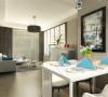 厅墙面顶面地面做的与客厅一样,餐桌选的是白色的边上是挂画,