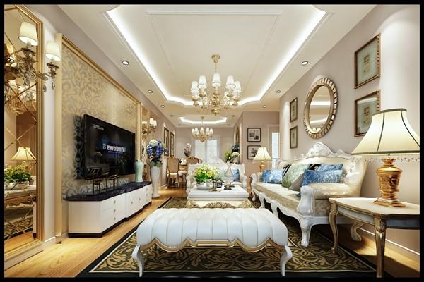客厅整体色调定位为高端雅致的淡紫色基调配以欧式家具和西班牙进口三层实木复合地板使客厅的奢华感上升。