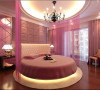 欧式奢华中无处不在体现着浪漫主义的色彩,粉色的纱帘与紫色的软包,通过镜面折射灯光的光线效果让梦幻成为这个卧室的主调,展现点滴间的享受。