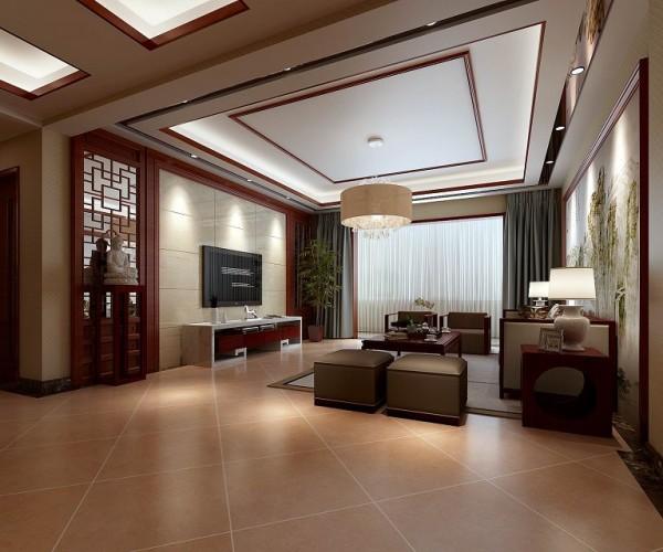 一个融合中式元素的现代简约风格的客厅,家具的数量力求减少到最低使用要求,让客厅空间大起来,布局上,层次分明,营造出一个简洁明朗,自然通透的客厅。