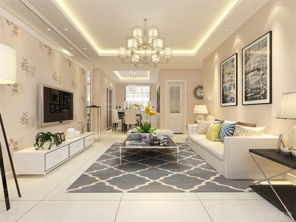 客厅在家具配置上,浅黄色的沙发,与蓝色、黄色抱枕的搭配,使家具倍感时尚,具有舒适与美观并 存的享受。浅咖色乳胶漆奠定了整个空间的基调,使用金属感、亮光及玻璃的材料作为辅材,给人带来前卫的感觉。