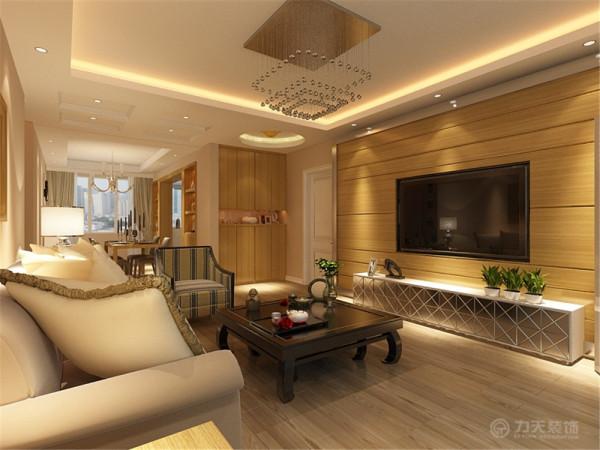电视背景运用了原木背景墙和木地板上墙相似,再配以同色系的电视柜使电视背景看起来充实又不混乱,沙发背景挂画,简洁实用。这次风格的设计整体色调简洁大方,给人大气沉稳,又不失温暖舒适的感觉。