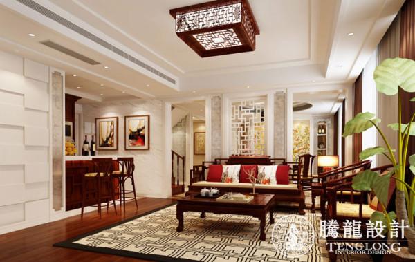 新华豪庭172平别墅户型装修新中式风格设计方案展示,腾龙设计师祝炯作品,欢迎品鉴!