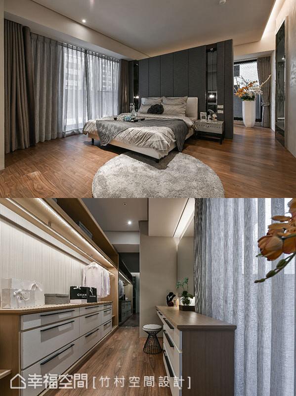 以双面墙作为床头墙面界定出睡眠区,另一面成为衣柜,同时区隔出后方的更衣室空间。