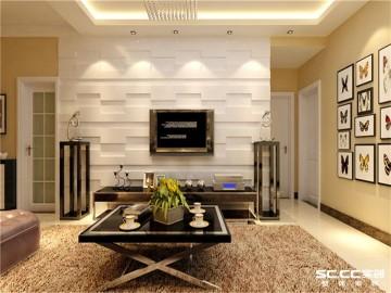 清华大溪地两居室简约风格效果图