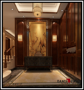 中式 别墅 祥和感 温馨 稳重 自然、清新 玄关图片来自名雕丹迪在中洲中央公园中式别墅的分享