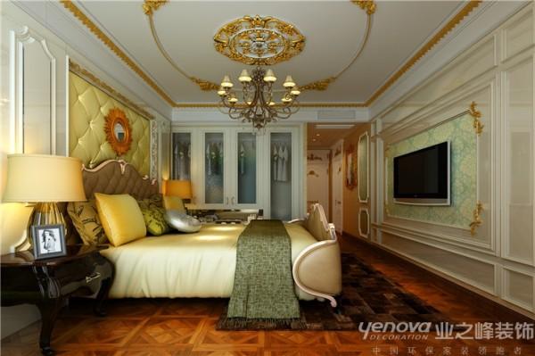 卧室区域,因为空间面积较小的局限性,在设计构 思中,尽可能的抛去一些复杂、琐碎的造型元素,而是 采用洛可可最经典的曲线、雕艺装饰线条来完成空间的 效果展现,既不失色彩的空间,