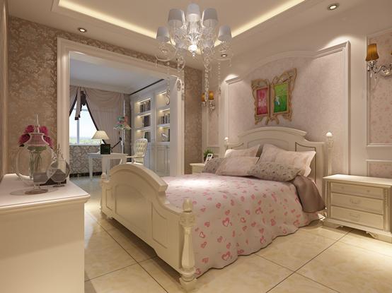 女儿房的设计以浅色梦幻为主,符合女孩子的梦幻特点。床头的壁纸带着淡淡的粉色,加上柔和的灯光,整个房间都充满淡淡的暖意,床头的装饰画由一只展翅欲飞的蝴蝶组成,两只不同颜色的翅膀寓意着多姿多彩的美好人生。