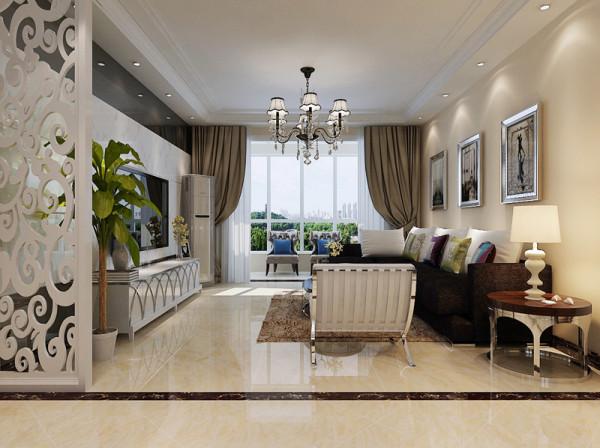 客厅整体装修设计效果展示,客厅吊顶做环行的灯池设计,整体客厅不会显得空洞。客厅增加延展性。
