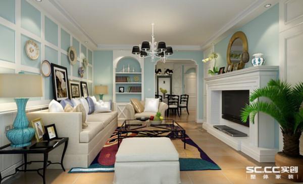 客厅:利用地中海典型轻快的淡蓝色色彩搭配典欧拱形储物柜以及具有古典特色的电视背景墙给人焕然一新的视觉感受,空间中所散发出的异域风情和富有节奏的格局线条都让人难以忘记。
