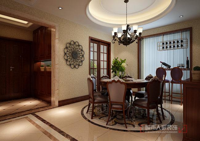 美式风格 复式装修 洋房 花园装修 小资 餐厅图片来自西安城市人家装饰王凯在普华浅水湾260㎡自由美式风格的分享