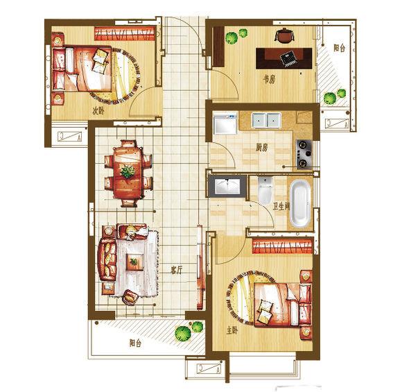 盛润锦绣城88平方装修三室两厅装修效果图
