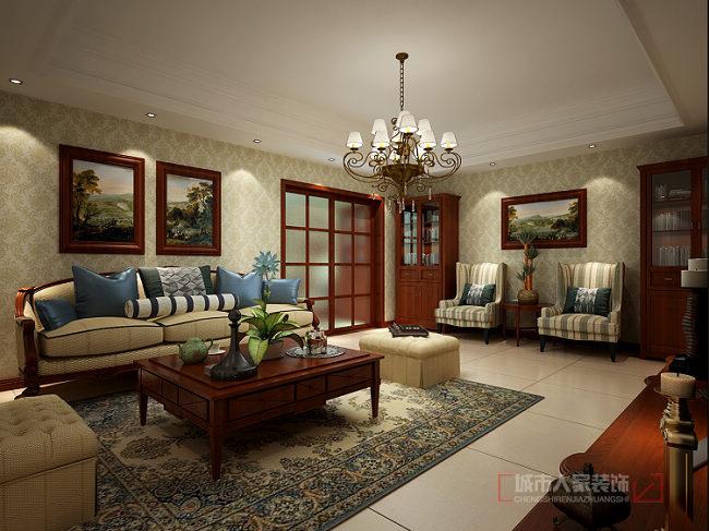 美式风格 复式装修 洋房 花园装修 小资 客厅图片来自西安城市人家装饰王凯在普华浅水湾260㎡自由美式风格的分享