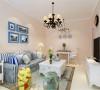 客厅以奶咖色为主色调,家具选用蓝白色,更好的贴合自然。
