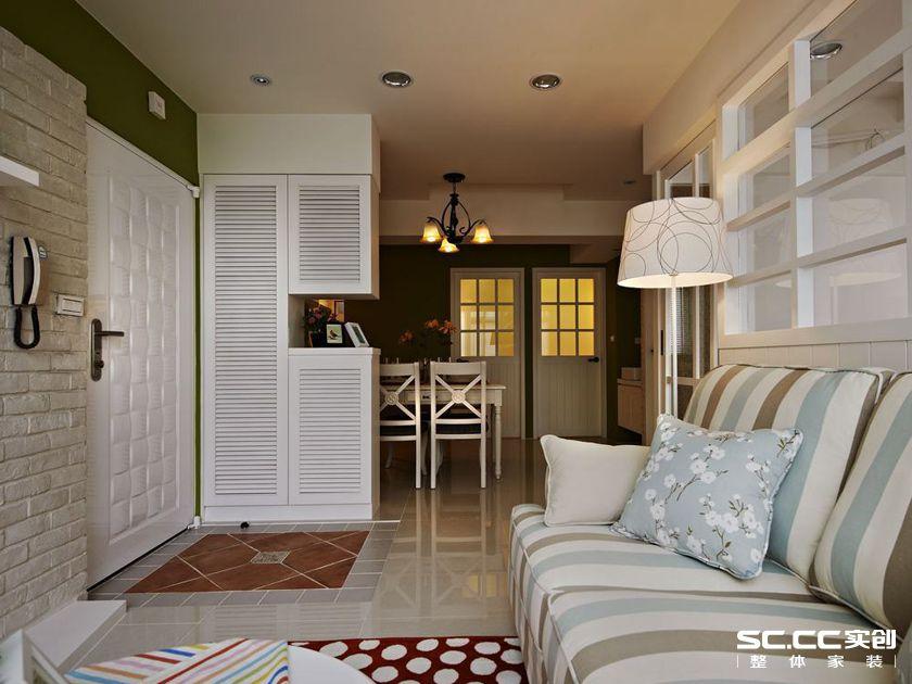 三居 田园 乡村 客厅 卧室 餐厅 绿色 白色 老房 客厅图片来自实创装饰晶晶在103平三居沐浴日光乡村小窝的分享