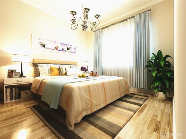 卧室的设计依然是以简单的造型为主,床的背景墙以一副现代画为衬托,有层次有立体感。地毯的色彩与房间相呼应上下一体。对于居住着来说,舒适的采光和流通的空气,能让户主有一个健康的身体,绝佳的生活。