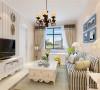 电视背景墙墙面采用暖色条纹壁纸,不仅与空间的整个色调呼应,更是突出简单的生活态度,向往一种自然舒适的生活方式餐厅餐桌也使用灰蓝色桌椅,整体色调使用暖色调。