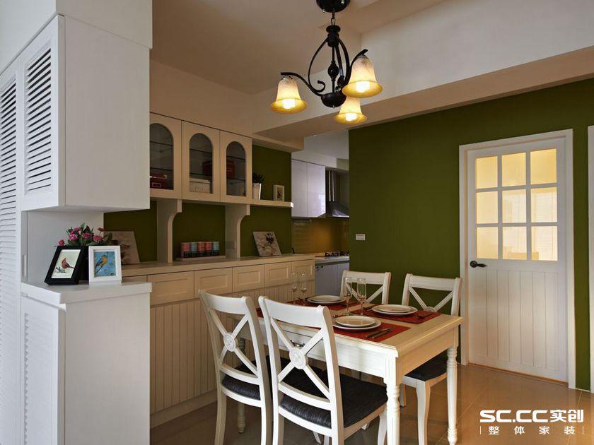 三居 田园 乡村 客厅 卧室 餐厅 绿色 白色 老房 餐厅图片来自实创装饰晶晶在103平三居沐浴日光乡村小窝的分享