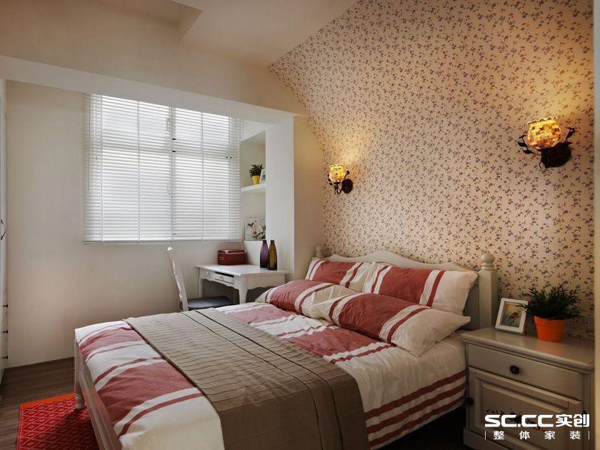 三居 田园 乡村 客厅 卧室 餐厅 绿色 白色 老房 卧室图片来自实创装饰晶晶在103平三居沐浴日光乡村小窝的分享