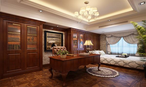 设计师为了凸显书房稳重优雅的氛围,选择了以黑、暗红、褐色为主色调的家具
