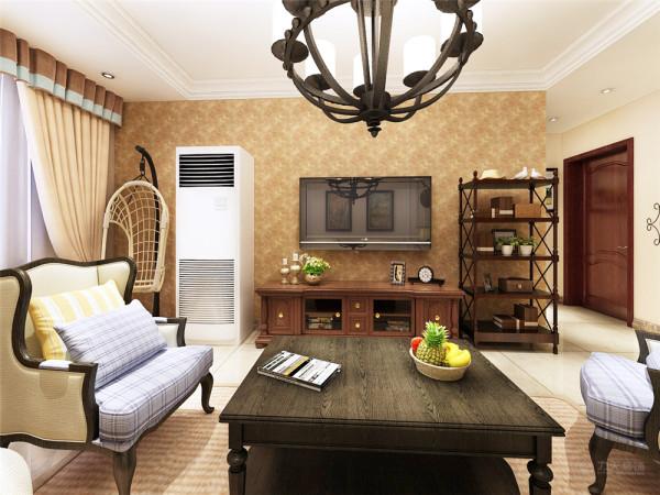 本方案整体以暖色调为主,给人以返璞归真的视觉效果。实木的纹理,清新的布艺沙发,流露出一股浓浓的美洲风情。