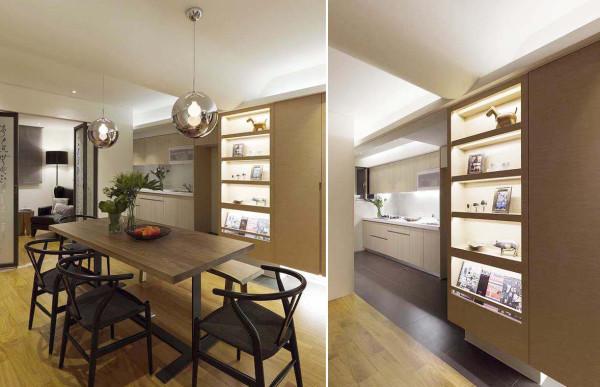 透过格局的转圜,设计师于餐厅侧向做出大型柜体,开放视感中隐私性的带出了厨房烹调区块。动线转角 以弧形立面收尾,和缓了视觉锐利感。