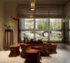 体现了优雅古典的风格,又符合了了现代人的生活习惯。在室内色彩方面,本案使用了红色,琉璃黄,长城灰,水墨黑和木原色打造出中式的古典韵味。