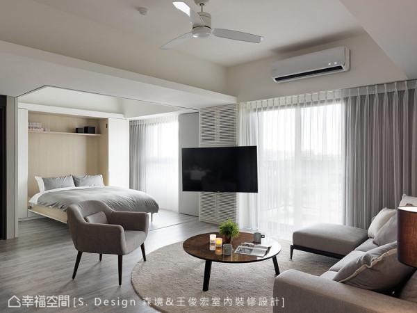 S. Design 森境&王俊宏室内装修设计以悬臂式五金取代电视实墙的规划,增添空间运用的灵活弹性与开阔场域感。