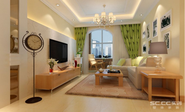 客厅:独具新意的简化装饰,设计简单、通俗、清新,电视墙吊顶相呼应诠释了点线面永恒的艺术主题。