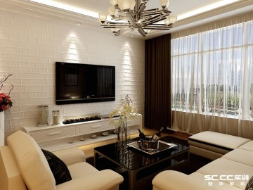 和谐家园91平两居室装修效果图