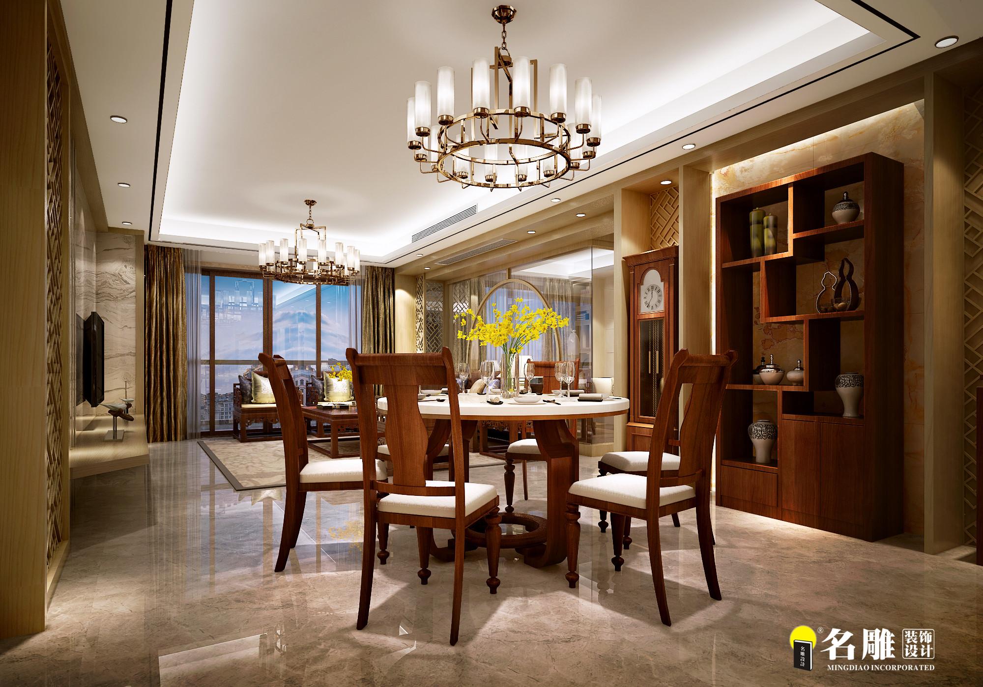 现代中式 四居室 空间层次感 中国式韵味 沉稳 餐厅图片来自名雕装饰长沙分公司在第六都现代中式四居室的分享
