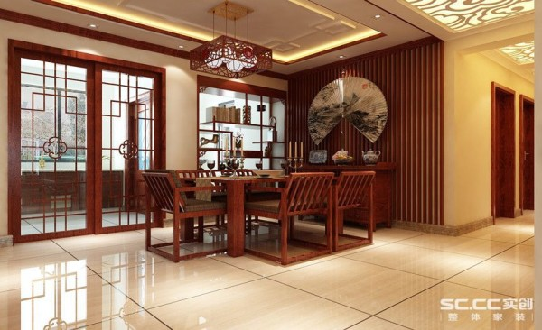 运用特有的中式木条装饰的餐厅造型墙面加上线条上开扇的点缀,将餐厅很好的融入到空间内,又把这个自古以来具有和文化的特殊餐位完美表现出来