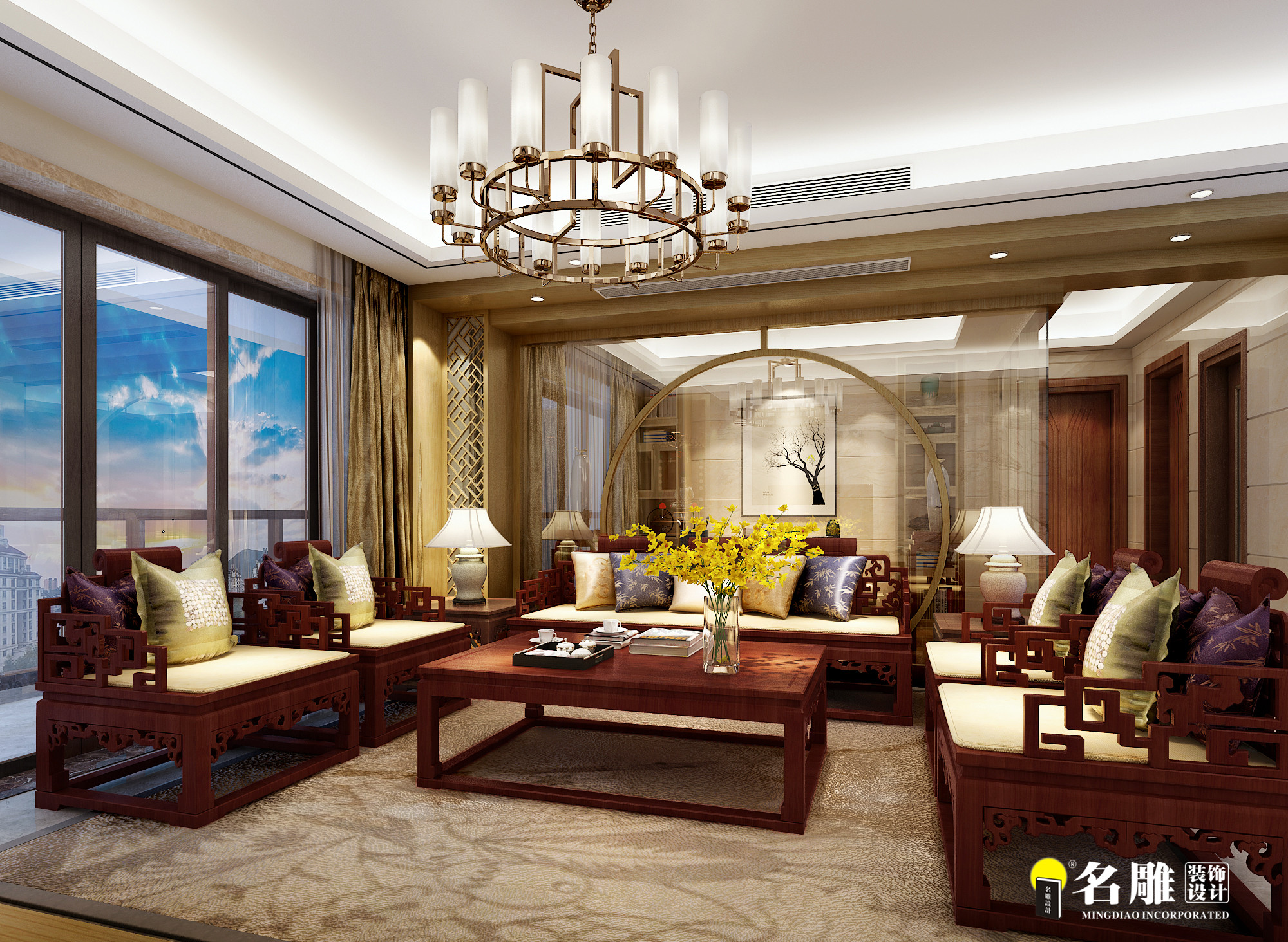 现代中式 四居室 空间层次感 中国式韵味 沉稳 客厅图片来自名雕装饰长沙分公司在第六都现代中式四居室的分享