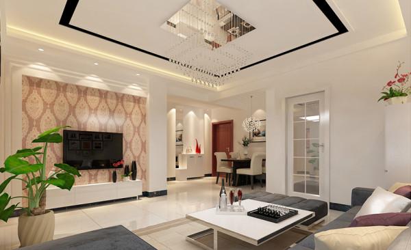水晶的吸顶吊灯和电视背景墙的简单修饰,体现了现代简约风格少即是多的设计理念,简单大气中透露着柔美与精致。石膏板吊顶,以黑色镜片